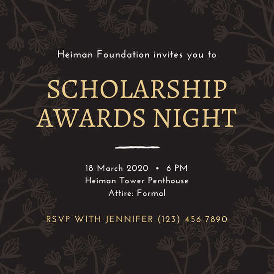 Black and Gold Illustrated Floral Awards Night Invitation
