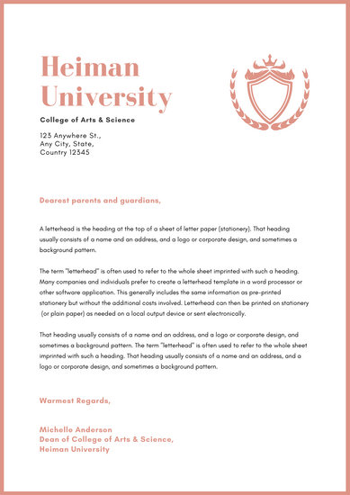 Salmon Pink Welcome letter to parents School Letters