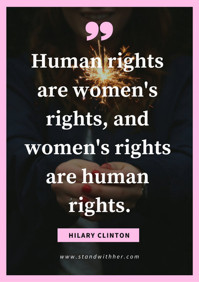 Pink and White Sparkler Quote Women's Rights Poster