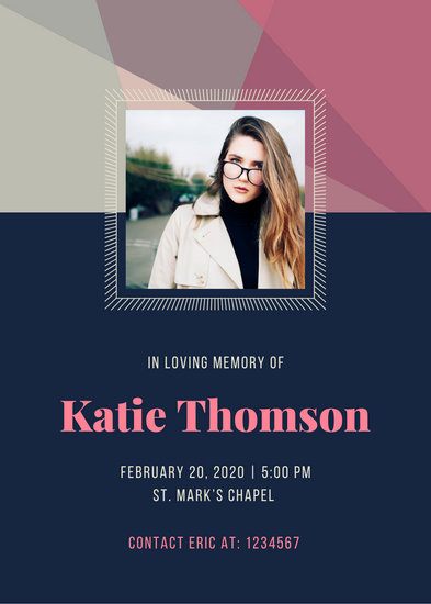 Pink and Blue Geometric Pattern Memorial Invitation