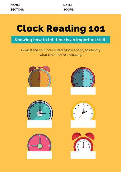 Yellow Clock Reading Time Math Game Worksheet