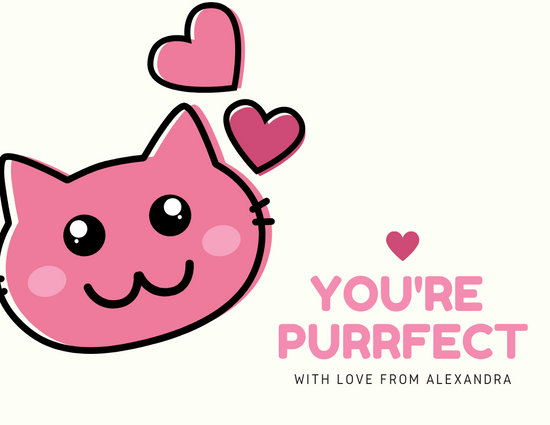 Pink Cat with Pink Hearts Illustration Love Postcard