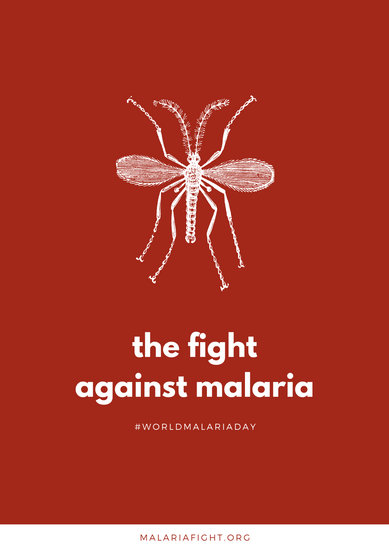 Maroon and White Fly World Malaria Day Poster
