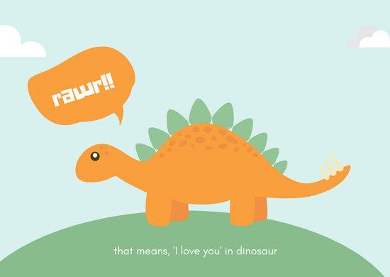 Light Blue Dinosaur Love Postcard