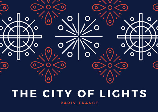 Blue Red White France French Lights Postcard