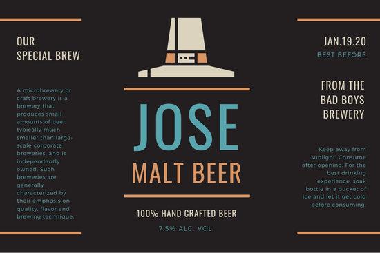 Black Hat Illustration Beer Label