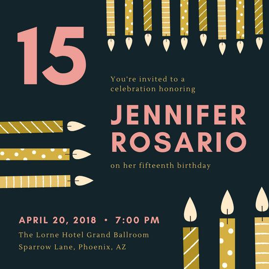 Gold Candles Birthday Invitation