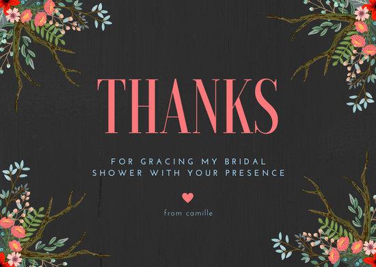 Black Floral Bridal Shower Thank You Card