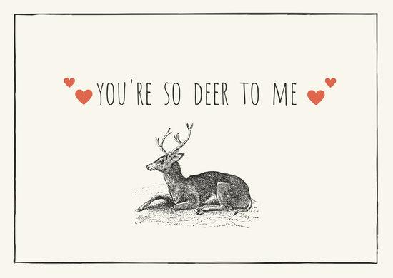 Deer Illustration Love Postcard
