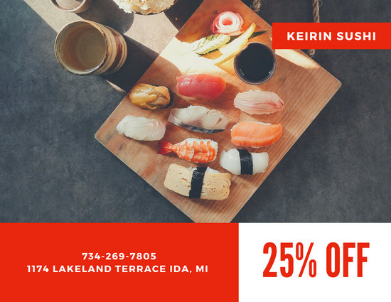 Red Sushi Direct Mail Postcard