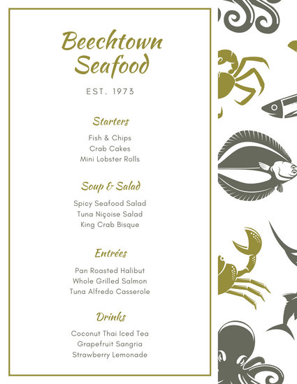 Olive Green Illustrated Seafood Food and Drink Menu