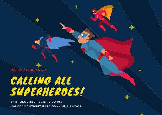 Illustrated Hero Superhero Invitation