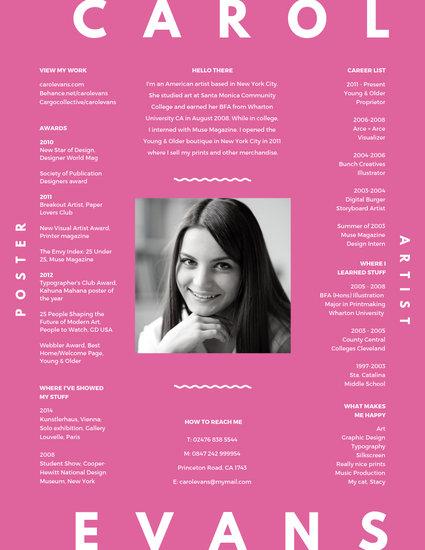 Pop Pink Professional Artist Resume