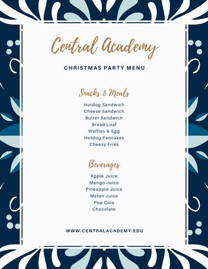 Blue Flower School Christmas Party Menu