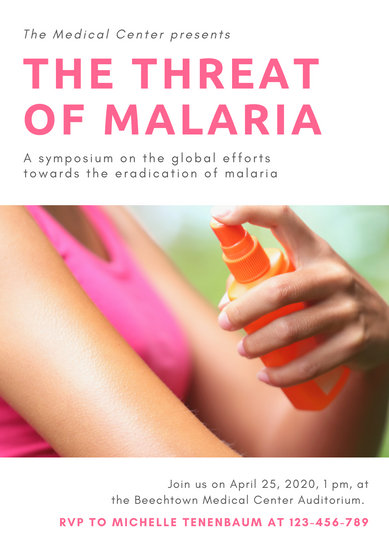 White and Pink with Photo World Malaria Day Poster