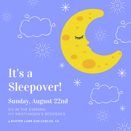 Blue Moon Sleepover Invitation