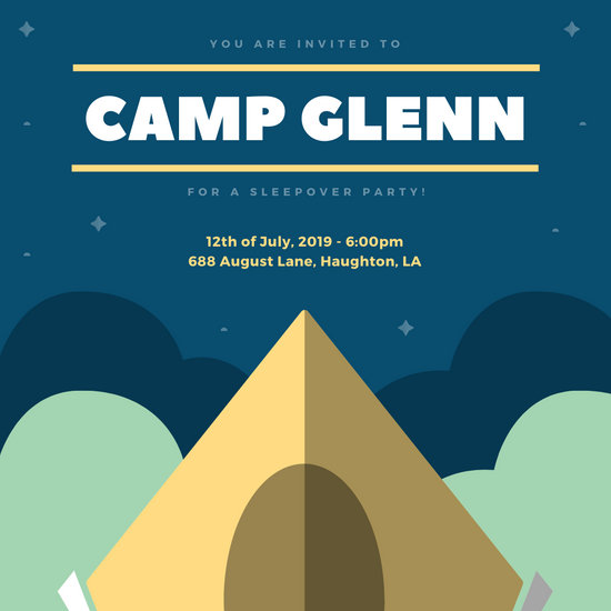 Yellow Tent Camping Sleepover Invitation