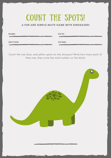 Green and Gray Dinosaur Math Games Worksheet
