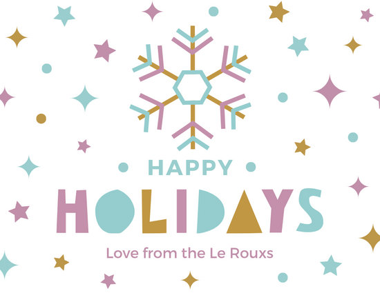 Colorful Funky Snowflake Holiday Greeting Card