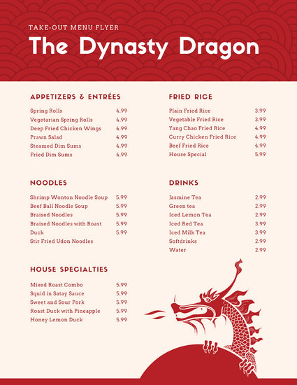 Red Dragon Chinese Food & Drink Menu