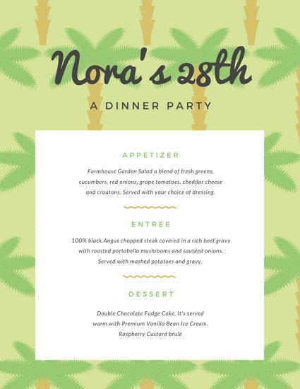 Green Palm Tree Pattern Dinner Party Menu