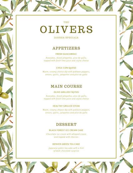 Green Olives Dinner Menu