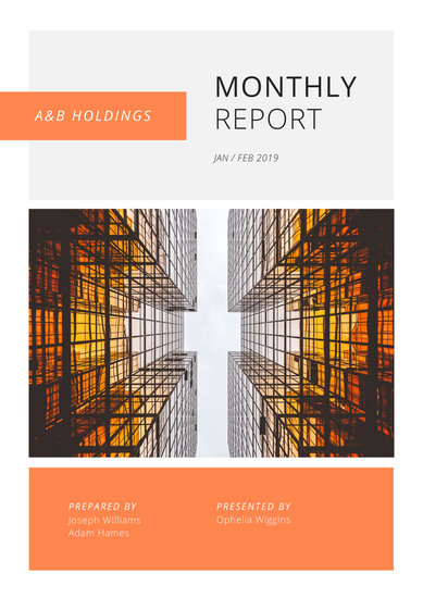 Orange, White, & Gray Corporate Simple Clean Monthly Report