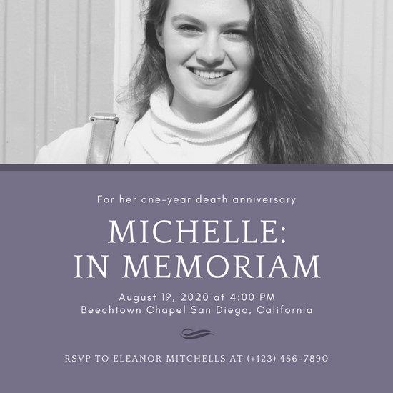 Purple with Grayscale Photo Memorial Invitation
