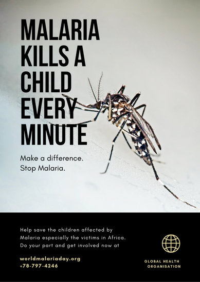 Black and Beige Mosquito World Malaria Day Poster