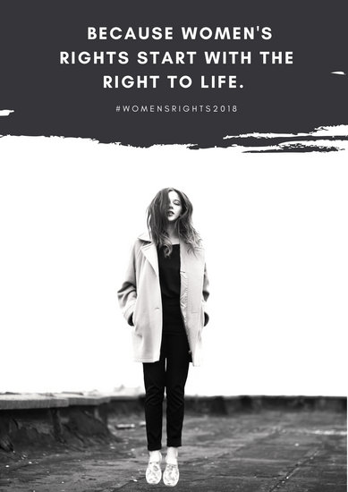 Black and White Girl Women's Rights Poster