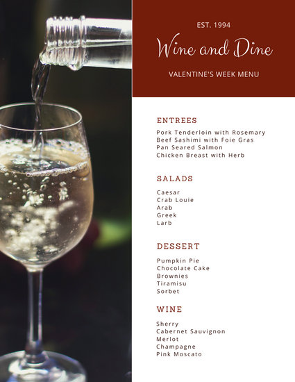 Red Wine Valentine's Day Food and Drink Menu
