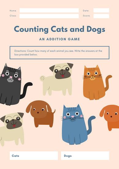 Peach Cat & Dog Illustrative Math Game Worksheet
