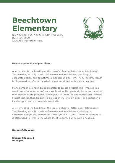 Green Logo Welcome letter to parents School Letters