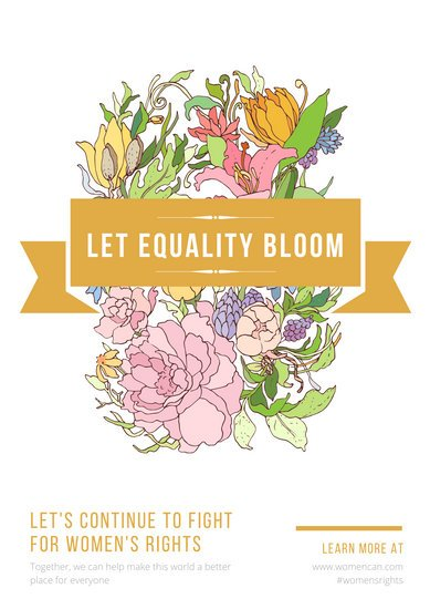 White & Gold Floral Minimal Women's Rights Poster