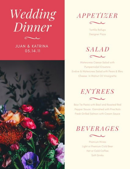 Pink Beige Floral Photo Wedding Food and Drink Menu