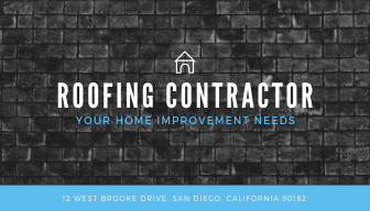 Grayscale Roof Construction Business Card