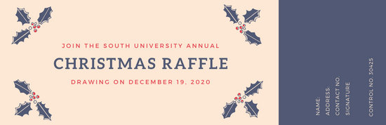 Blue and Red Holly Raffle Ticket