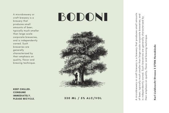 Light Green Breadfruit Tree Illustration Beer Label