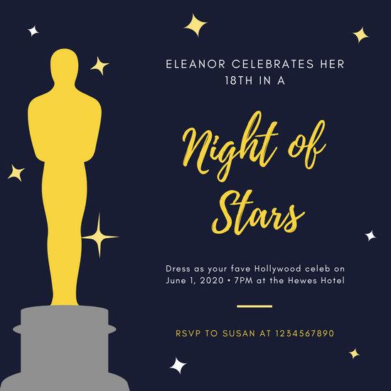 Blue Gold Award Sparkles Hollywood Invitation