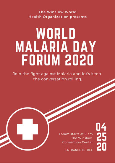 Red and White Cross World Malaria Day Poster