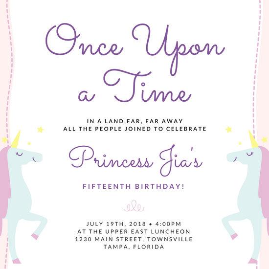 Unicorn Quinceanera Party Invitation