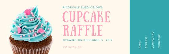 Cream and Teal Cupcake Raffle Ticket