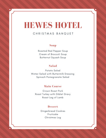 Red Striped Christmas Food and Drink Menu