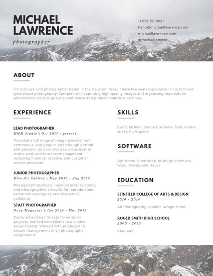 Brown and White Mountains Photographer Photo Resume