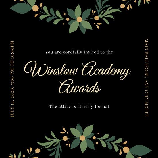 Gold and Black Elegant Ornament Awards Night Invitation