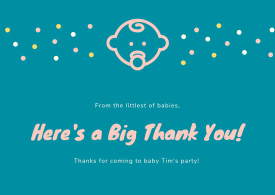 Teal Cute Baby Thank You Card