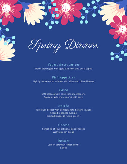 Blue Spring Dinner Party Menu