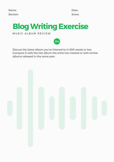 Green Blog Writing Prompt Worksheet
