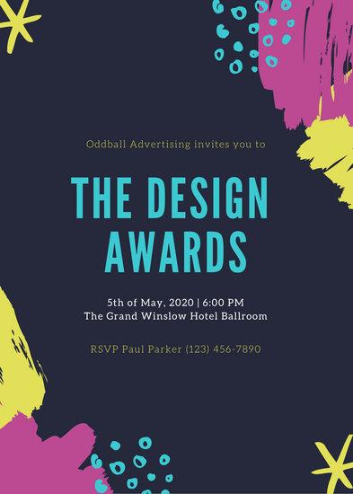 Colorful Creative Brush Strokes Awards Night Invitation