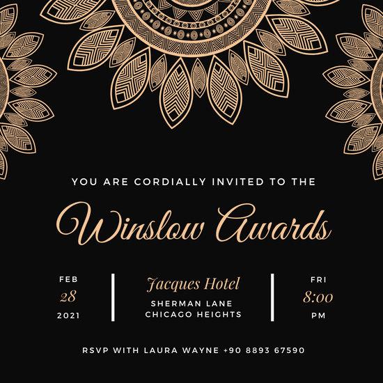 Black Gold Floral Pattern Awards Night Invitation